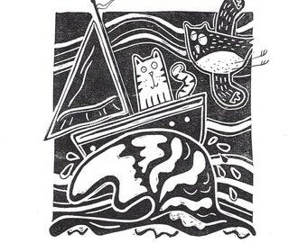 Owl and pussycat cat print, love poem verse - 'When I Cast My Sails', fun romantic feline and bird lover wall art