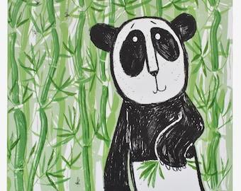 Original Panda Art - Bamboo Panda bear screen print, handprinted limited edition of 20, colorful animal wall art decor unframed