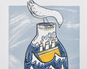 Ship In A Bottle At Print - 'Same Storm - Different Boat' Original Screenprint, Fun Nautical Wall Art