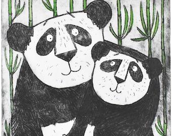 Panda Bear Wall Decor - mother and baby panda bear etching art print, original limited edition, nursery children's room, new baby
