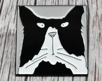 Tom Cat Enamel Pin Badge, Cat Brooch Pin, Cat Lapel Badge, Cute Cat Pin Badge, Cat Badge, Cat Lapel Pin Badge, Black and White Cat Pin Badge