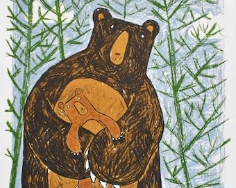 123 Huggy Bear - mother and baby bear wall decor, hand printed original screen print, cheerful bear lover and children's wall art