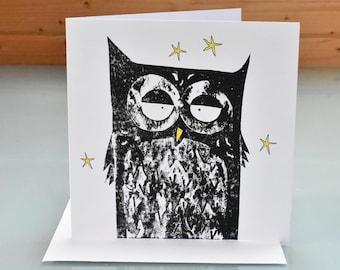 Handmade Owl Card - blank inside art greeting card, 'Night Owl', wise owl, tawny owl notecard, owl lover card