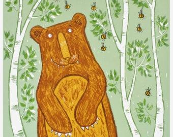 The Bear & The Bees Wall Art Print - original handprinted limited edition bear screen print, fun bear and bees wall decor, unframed