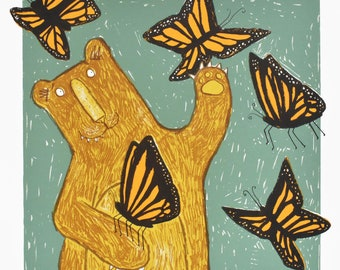 Flutterbear - bear and butterfly wall art screen print, original handprinted, cheerful art, equally at home in the lounge or the kids room