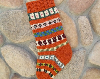 Christmas stocking hand knitted in terra cotta rust copper gingerbread orange FREE US SHIPPING fair isle chunky cozy fireplace mantel decor