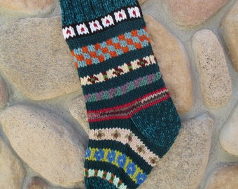 Christmas stocking hand knitted in a rich dark teal, blue/green with FREE US SHIPPING fair isle intarsia chunky cozy fireplace mantel decor
