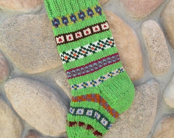 Christmas stocking hand knitted in lime spring Grinch green with FREE U.S. SHIPPING fair isle intarsia chunky cozy fireplace mantel decor