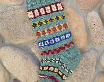 Christmas stocking hand knitted in seafoam, sage green with FREE U.S. SHIPPING fair isle intarsia chunky cozy fireplace mantel decoration