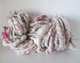 "Handspun art yarn ""WINTER'S ARIA"" 30 yards with free U.S. shipping merino tencel soy bamboo silk mohair sparkly stuff fiber and yarn scraps"