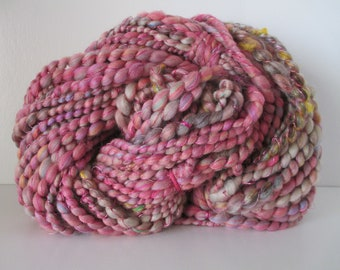 """Handspun art yarn """"WILD ROSE"""" 54 yards of synthetics and silk in SOFT hues: rose, pink, purple, lavender, blue, green, yellow, gold, brown"""