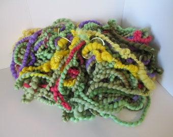 "Handspun art yarn ""PRICKLY PEAR"" 55 yards with FREE U.S. shipping Merino, silk, rayon in shades of green with avocado, yellow, purple, rose"