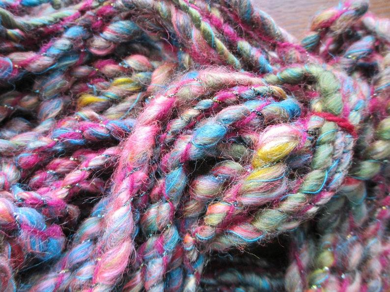 shipping maroon pink yellow gold turquoise teal nylon and wool Hand spun art yarn COSMIC CRAPSHOOT 40 yards free U.S