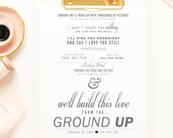 "Dan + Shay ""From The Ground Up"" - Grey and Navy - Valentine's, Wedding Gift, Cotton, Paper Anniversary Gift, Song Lyrics, Art Print"