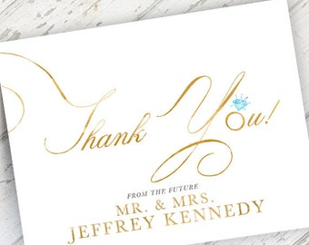 newlywed future mr and mrs wedding engagement thank you card gold blue watercolor - Engagement Thank You Cards