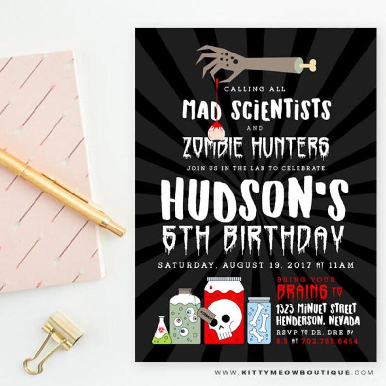Zombie Birthday Party Invitations Mad Scientist Birthday Etsy