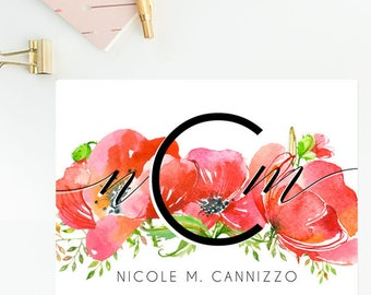 Floral Personalized Stationery Monogram Folded Cards - Christmas Gift Birthday Gift - Qty. 1