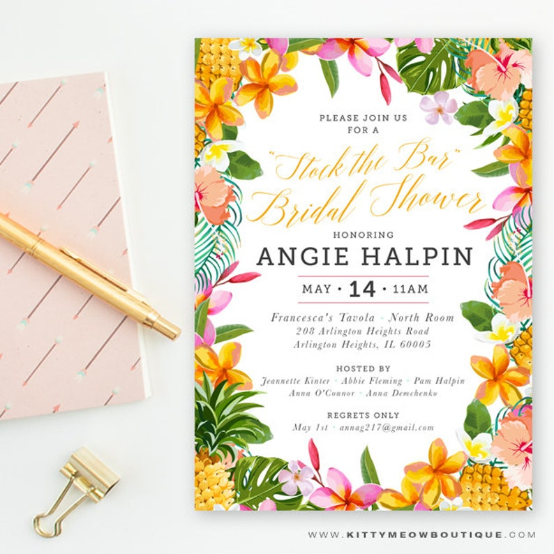 Tropical Themed Bridal Shower Invite Stock The Bar Invitation Hawaiian Wedding Bachelorette Party