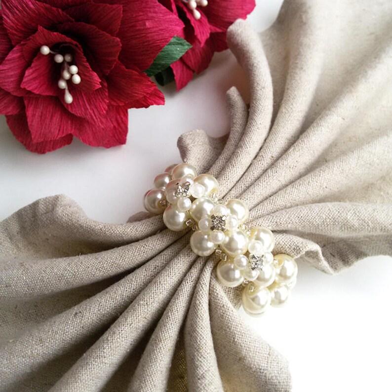 Wedding Table Decoration Wedding Napkin Rings Pearl Napkin Etsy
