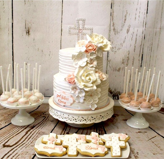 Taufe Cake Topper Kreuz Cake Topper Perle Kreuz Cake Topper Taufe Kuchen Deckel Erste Kommunion Kuchen Deckel Kreuz Dekoration