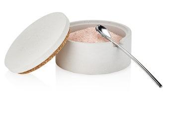 Concrete Salt Cellar with Spoon / Salt Keeper / Salt Dish / Container