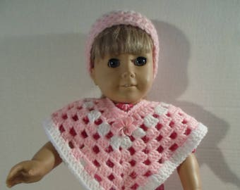 18 inch Doll Clothes --- Crocheted Pink Poncho and Hat