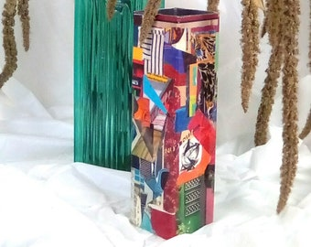 Long, Thin, Recycled Spirits Box Converted to Vase, Collaged with Bright Colors