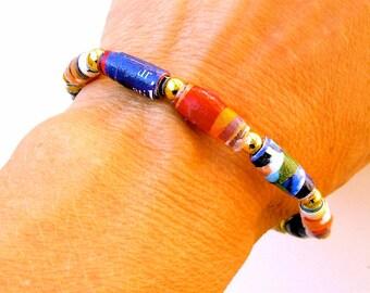 Hand Made Paper Bead Bracelet