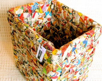 Colorful Square Basket Woven Trash Bin Made from Junkmail
