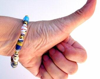 Hand Rolled Paper Bead Bracelet