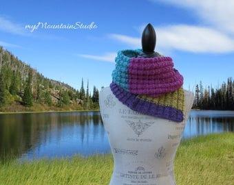 Textured Color Block Hand Knit Women's Scarf - Montana Handmade by myMountainStudio