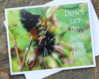 Inspirational Photo Note Card - Don't let go, you got this! Caterpillar Nature Photography