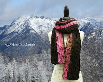 Handmade Chunky Winter Scarf in Pink and Brown - Made in Montana - Ready to Ship