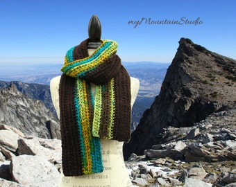 Handmade Chunky Winter Scarf in Toadstool and Brown - Made in Montana - Ready to Ship
