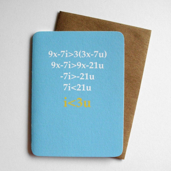 Items similar to Nerd Love Card - Love Equation on Etsy