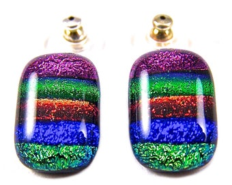 Striped Emerald Green Bright Sky Blue Sapphire Skinny Rainbow Dichroic Glass Earrings EuroWire Lever Dangle or Convert to Clip-On