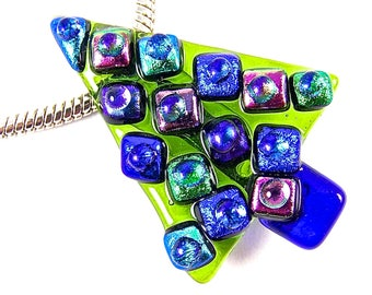Dichroic Glass Hair Barrette Large 3.5 Teal Blue Verdigris with Rectangles of Royal Blue Denim Accents Dots Fused Glass Slide Clip Hair Accessorie