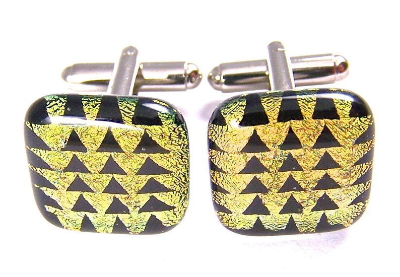 20mm 34 Glass Cuff Links Dichroic Cuff Links Yellow Golden Copper /& Black Triangles Pyramids Patterned Dichro Fused Glass Cufflinks