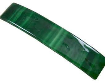 "Tiffany Glass Barrette -3.5"" 9cm - Intense Malachite Jade Green Striped Streaks Emerald & Mint Shades of Green"