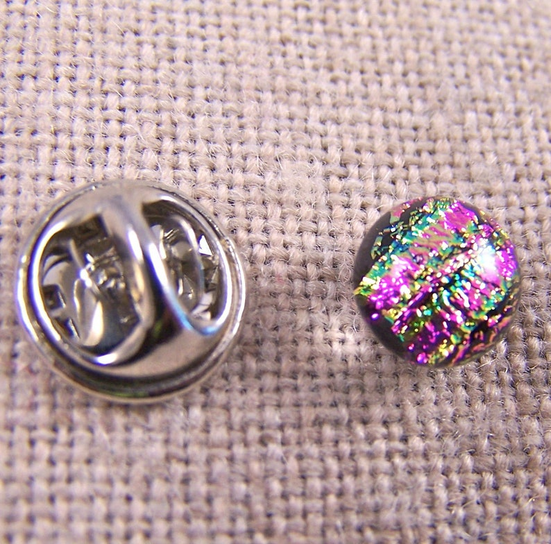 14 10mm Magenta Pink Fuchsia Green Reed Striped Pinch Pin for Scarf Suspenders Hat Coat Tiny Tie Tack Flair Pin Dichroic Fused Glass
