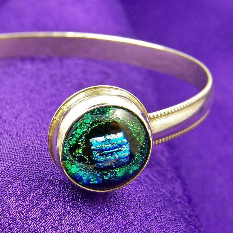 Dichroic Glass Cuff Bracelet Sterling Silver Verdigris Teal Green 12 Inch 12mm Hand Crafted Fused Glass Cabochons Bezel Set Sterling