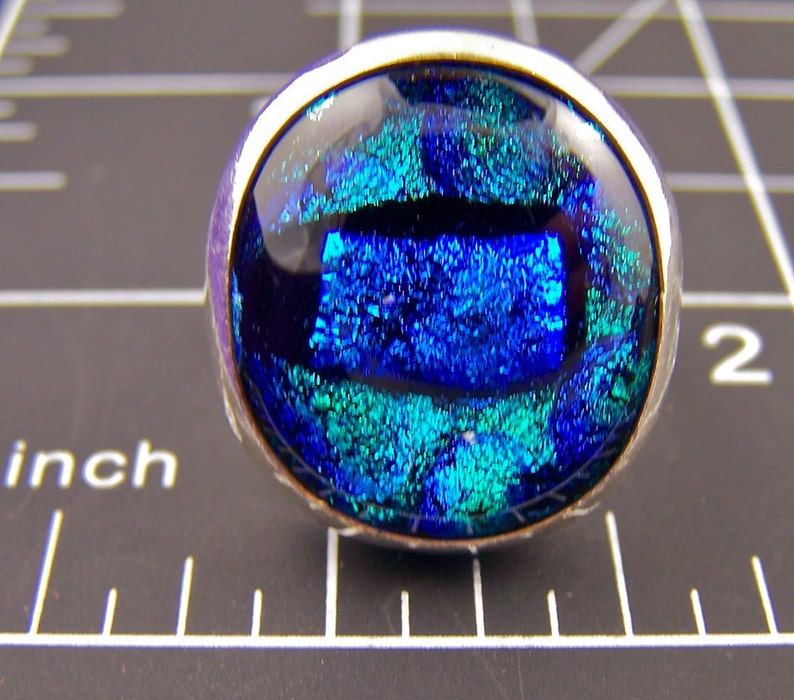Teal Blue Bubbles Patterned Metallic Blue Fused Glass Bezel Set Sterling Cocktail Ring Dichroic Glass Cabochon Sterling Silver 78 20mm