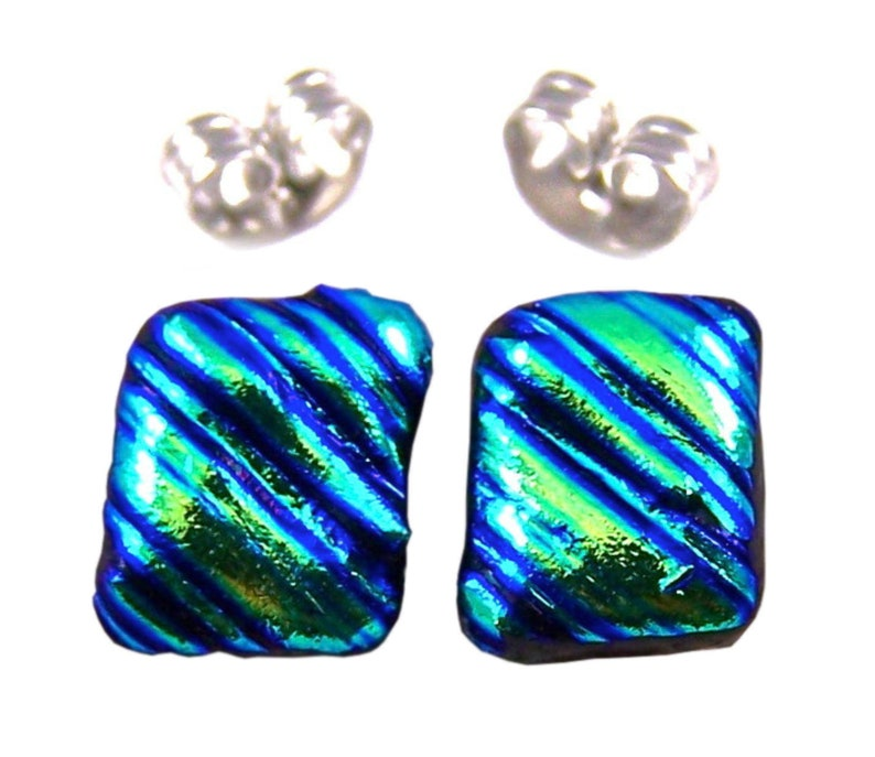 """Tiny DICHROIC GLASS Post EARRINGS 1//4/"""" 7mm Viridian Teal Green STUDS Dots Small"""