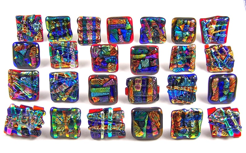 Red Blue Gold Copper Green Set of 5 Dichroic Knobs Abstract Mosaic 1  25mm Cabinet or Drawer Pull Handle Custom Made Fused Glass