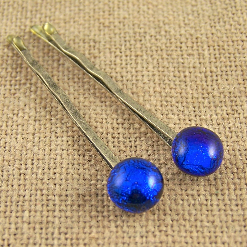 Dichroic Glass Bobby Pins Pair of Two Blue Fused Glass on Silver Steel Pins Cobalt Navy Blue 14 8mm Set of 2 Hair Pins Accessories