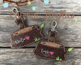 Love Log Key Fob- Rustic Zipper Pull