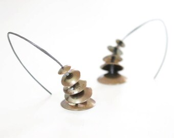 Brass and Oxidized Silver Graduating Dome Earrings