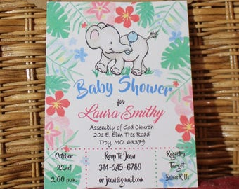 Elephant Baby Shower Invitation - Jungle Baby Shower Invitations - Elephant Baby Shower - Tropical Theme|Baby Elephant|Boy|Girl|Sprinkle