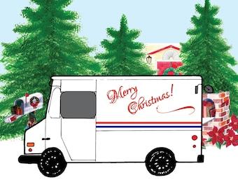 Mailman Holiday Card Etsy
