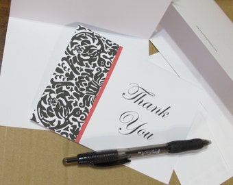 Damask Pattern Thank You Card Pack Of 10 Wedding Thanks Special Thanks Blank Note Cards Appreciation